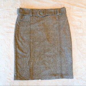 Benetton Wool Blend Gray Plaid Pencil Skirt 12